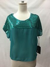 Women's Cowgirl Tuff Turquoise Blouse w/Sequins, Sz M