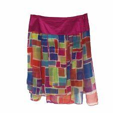 Isabela d. Skirt Womens Size 6 Silk Hot Pink Dance Sheer Gypsy Layered Clubwear