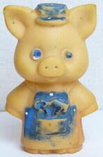 Vintage Original Soviet Russian Rubber Toy Small Piggy Doll Ussr