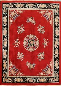 Vintage Floral Art Deco Chinese Oriental Area Rug Hand-knotted Wool 8x10 Carpet