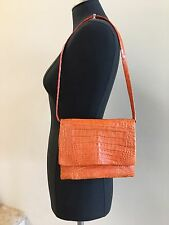 RINKEL Genuine Crocodile Convertible Evening Shoulder Bag/Clutch Handbag, Orange