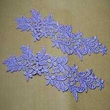2pcs/lot Purple sewing Floral Motif Venise Lace Applique for Garment Embroidery