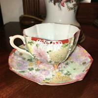 Antique Tea Cup Saucer Floral Hand Painted Porcelain Ornate  Victorian Georgian