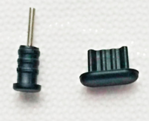 ANTI DUST BLACK PLUG SILICONE SET MICRO USB + JACK 3.5mm for ZTE Avid Plus