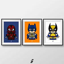 Batman Wolverine Deadpool Marvel DC Libro De Historietas Superhéroe paquete de impresión arte de Pared