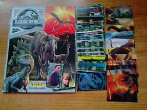 JURASSIC WORLD - Fallen Kingdom - Complete 156 Sticker Set & 3 D Set Album 2018