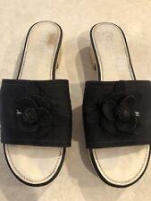 Chanel silk grosgrain  Camellia Wood Slides 41/10