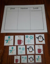 Winter themed Size Sorting laminated preschool child homeschool activity game.