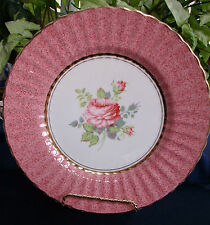 WADE HEATH & Co.- ENGLAND (c.1947+) DISPLAY PLATE-MOTTLED PINK/ROSES-MINT! GILT!