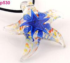 1pc blue Starfish star Murano Lampwork Glass Pendant Necklace p530