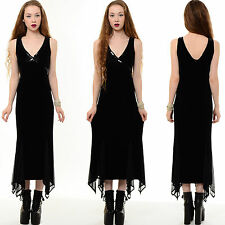 Vtg 90s Blk VELVET Goth Sequin BEADED Gypsy Witchy Deco Bodycon Cocktail Dress M