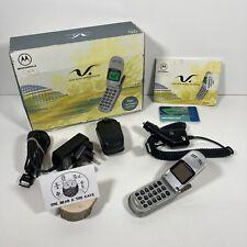 Retro Vintage Motorola V50 Flip Mobile Phone Silver Original Box & Accessorise