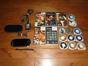 Sony PSP 3001 black video game system console, 2GB memory, + 16 Games Bundle