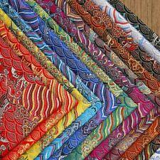 Chinese Damask Brocade Fabric Satin Faux Silk Wave for Hanfu Kimono DIY Costume