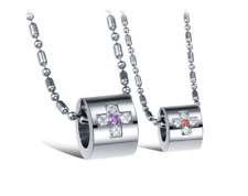 Love Couple Necklaces stainless steel Love Ring w/Crystal cross style+free chain