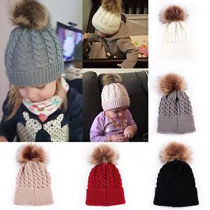 Mom / Baby Beanie Bobble Pom Pom Hat Crochet Knitted Warm Thick Winter Cap 1PCS