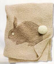 "Aran Garter Stitch Bunny Rabbit  Baby Blanket 39"" x 47""  Knitting Pattern"