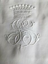 Linge Ancien - Beau drap en fil de lin brodé d'une couronne comtale (2m40x3m20)