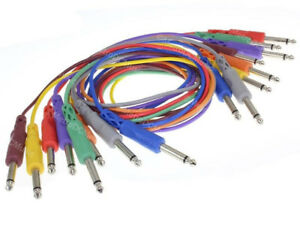 """8-Pack Hosa Color Coded 3 ft 1/4"""" TS Mono Patch Cables Nickel Plated Plugs NEW"""