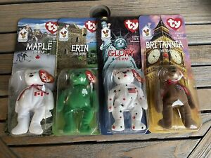 McDonald's Beanie Babies Flag Bear Collector's Set - All 4 in unopened boxes