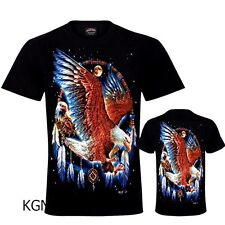 Men T-Shirt Native American Bike Biker Eagle Dream Catcher T-Shirt