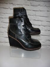 TOMMY HILFIGER LADIES BLACK LEATHER WEDGE ANKLE BOOTS UK 7 WORN ONCE  REF:WW
