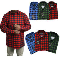 Mens Shirts Check Print Work Flannel Brushed Cotton Lumberjack Long Sleeve M-2XL