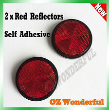 2pc Round Red Reflector Marker Truck Car Trailer Caravan Self Adhesive