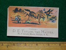 1870s-80s D E Taylor the Hatter Man Thrown Off Horse Victorian Trade Card F23