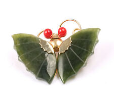 GIADA VERDE Spilla di Farfalla con gli occhi rossi, Vintage 1960s