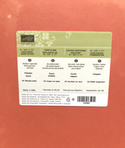 Stampin Up CALYPSO CORAL 8  1/2 x 11 Sealed 24 Sheets Orange / Red