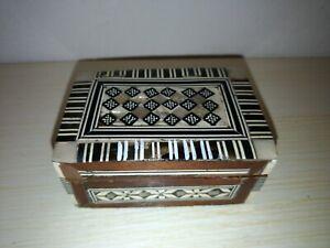 Box Schatulle Schmuck Intarsien IN Perlmutt Knochen und Holz