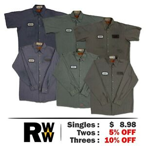 Red Kap Work Shirts 2 Pocket Microcheck Short & Long Sleeve Uniform #B