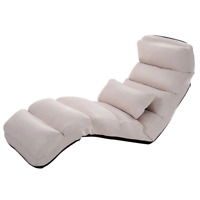 Folding Lazy Sofa Chair Stylish Sofa Couch Bed Lounge Chair W/ Pillow Multicolor