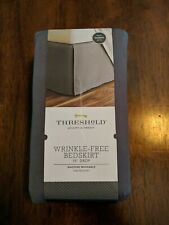 """New Gray Wrinkle-Resistant Cotton Bed Skirt (Queen) - Threshold 15"""" drop"""