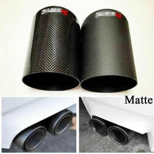 1X Matte Carbon Fiber 3 Inch Car Exhaust Muffler Pipe Cover Tip Decoration Case