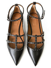 NEW $775 Givenchy Black Studded Leather Pointed Flats 7.5 / 37.5 CURRENT STYLE