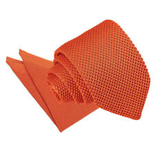 DQT Knit Knitted Plain Burnt Orange Casual Men's Slim Tie Handkerchief Set