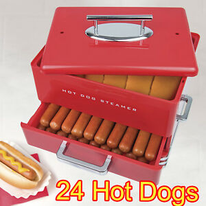 Hot Dog Steamer Machine Electric Food Bun Warmer Cooker Red 24 Hot Dogs 12 Buns