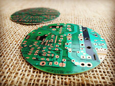 Pair of Drinks Coasters Handmade from Green Recycled Computer Circuit Board.