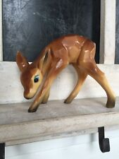 """VTG MCM 60's Plastic Celluloid Like Deer Fawn Spotted Figural Toy 3 3/4"""" Grazing"""