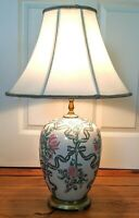 Vintage Asian Floral hand painted ceramic Ginger Jar Table Lamp /NO SHADE