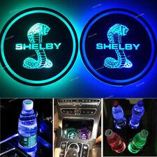 2pcs Big Snake Cobra Logo LED Car Cup Holder Pad Mat Lights Atmosphere