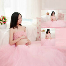 Women Maternity Photography Clothing Pink Bra + Voile Skirt Photo Shoot Prop