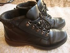 LADIES HOTTER BLACK LEATHER WALKING ANKLE BOOTS SIZE UK 7.5 LACE UP