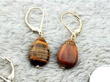 Pendientes Colgantes Dorado Gota Piedra Ojos de Tigre Clase CC10