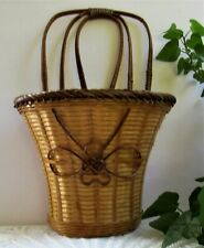 "Vintage Collectible Lightweight Decorative Handled Wall Basket with Bow 6"" Deep"