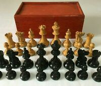 Vintage Chess Set Lead Weighted Staunton Pattern Original Box - No Board K=6.8cm