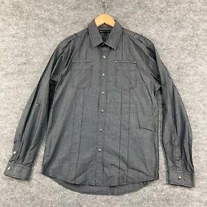 Jonathan Adams Mens Button Up Shirt Size M Medium Grey Long Sleeve 201.08