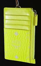 New MCM Lanyard Neon Yellow Visetos Canvas Mini Zip ID Card Case Wallet
